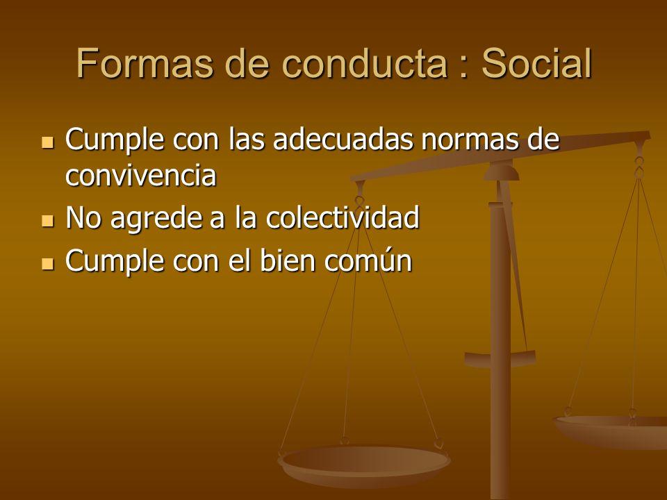Formas de conducta : Social Cumple con las adecuadas normas de convivencia Cumple con las adecuadas normas de convivencia No agrede a la colectividad