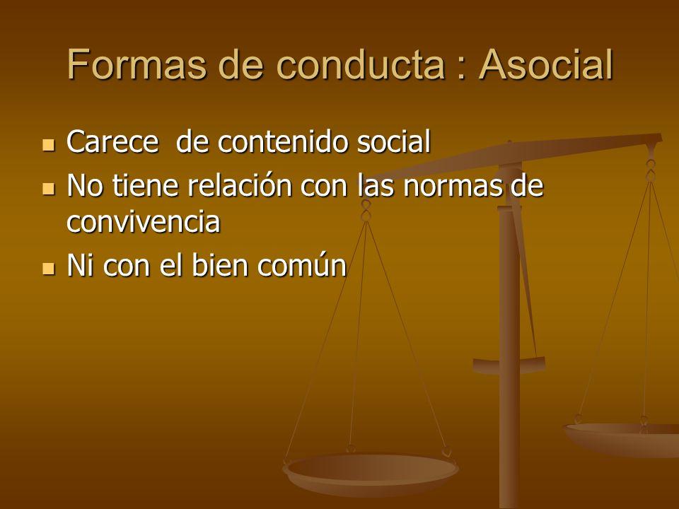 Formas de conducta : Asocial Carece de contenido social Carece de contenido social No tiene relación con las normas de convivencia No tiene relación c