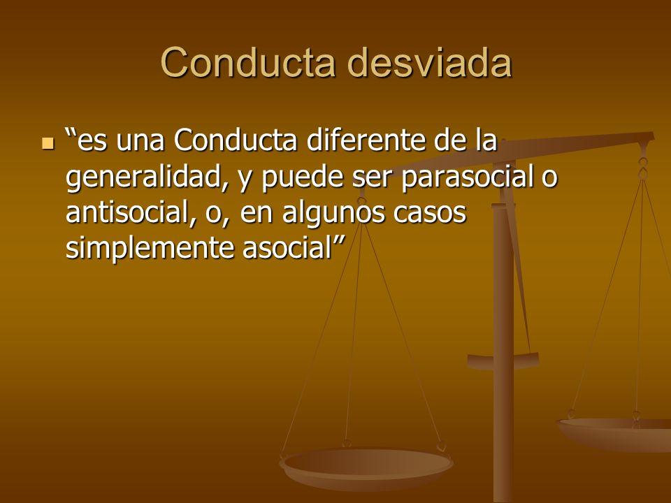 Conducta desviada es una Conducta diferente de la generalidad, y puede ser parasocial o antisocial, o, en algunos casos simplemente asocial es una Con
