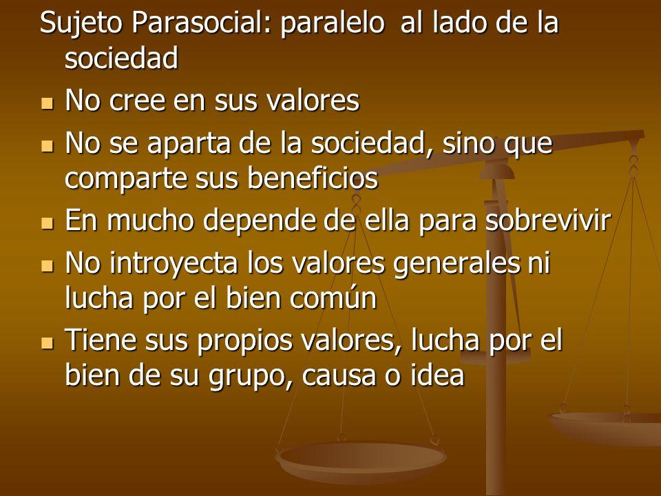 Sujeto Parasocial: paralelo al lado de la sociedad No cree en sus valores No cree en sus valores No se aparta de la sociedad, sino que comparte sus be