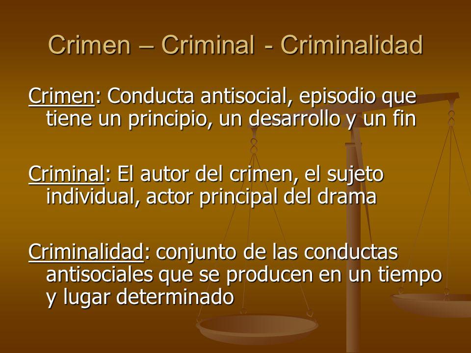 Crimen – Criminal - Criminalidad Crimen: Conducta antisocial, episodio que tiene un principio, un desarrollo y un fin Criminal: El autor del crimen, e