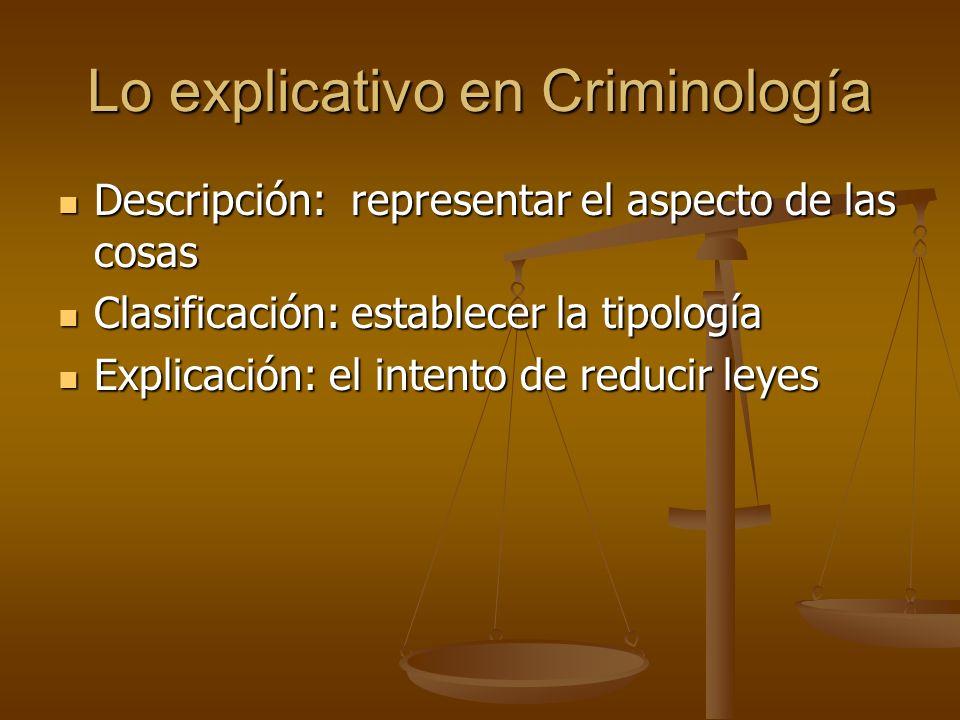 Lo explicativo en Criminología Descripción: representar el aspecto de las cosas Descripción: representar el aspecto de las cosas Clasificación: establ