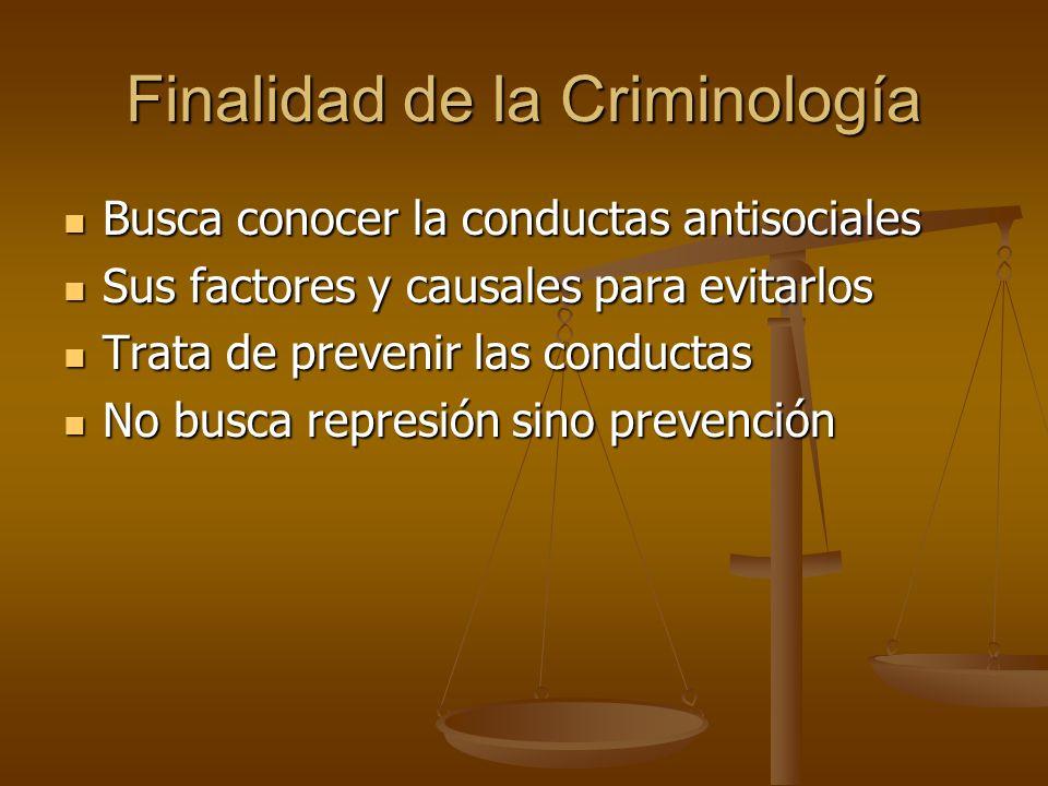 Finalidad de la Criminología Busca conocer la conductas antisociales Busca conocer la conductas antisociales Sus factores y causales para evitarlos Su