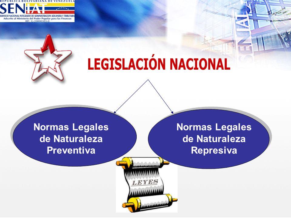 Normas Legales de Naturaleza Preventiva Normas Legales de Naturaleza Represiva