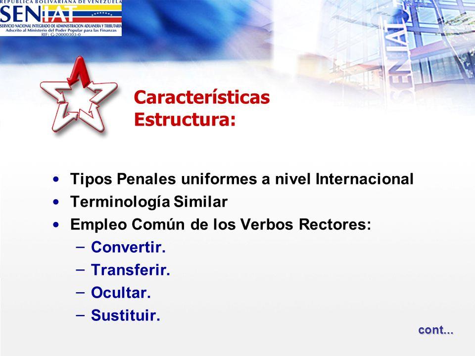 Tipos Penales uniformes a nivel Internacional Terminología Similar Empleo Común de los Verbos Rectores: – Convertir. – Transferir. – Ocultar. – Sustit