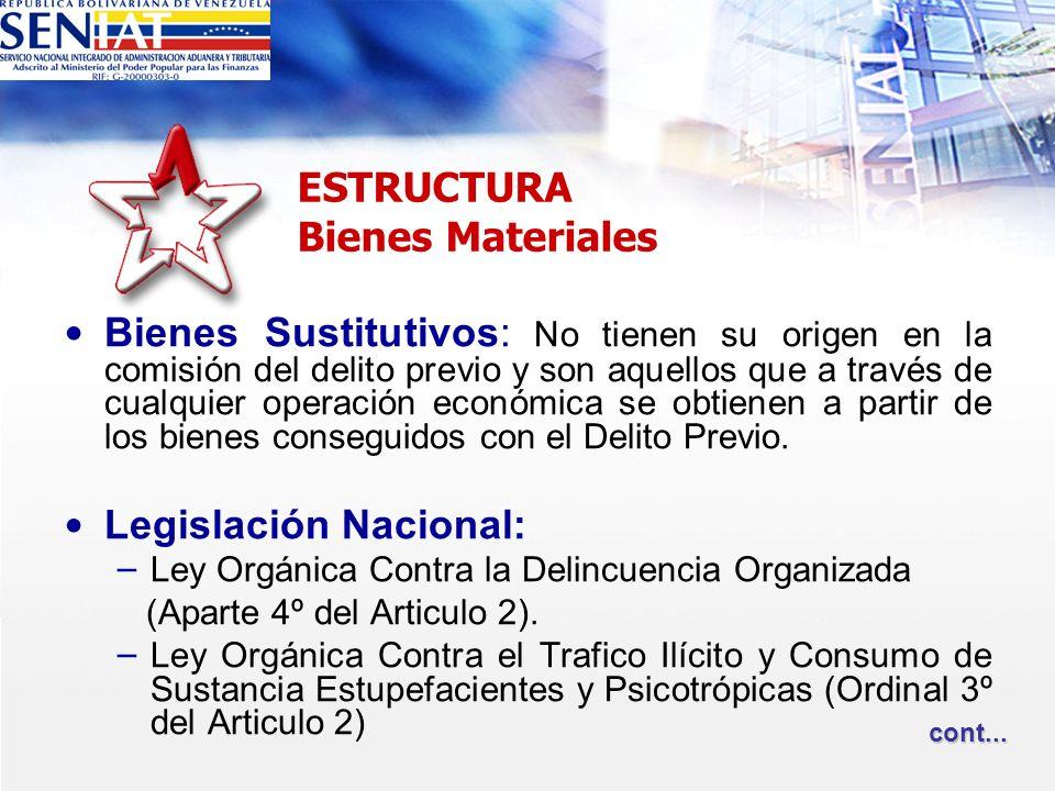 ESTRUCTURA Bienes Materiales Bienes Sustitutivos: No tienen su origen en la comisión del delito previo y son aquellos que a través de cualquier operac