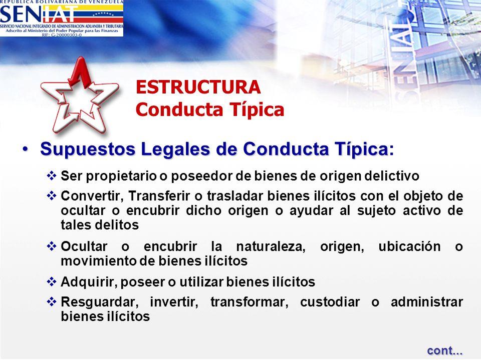 ESTRUCTURA Conducta Típica Supuestos Legales de Conducta TípicaSupuestos Legales de Conducta Típica: Ser propietario o poseedor de bienes de origen de