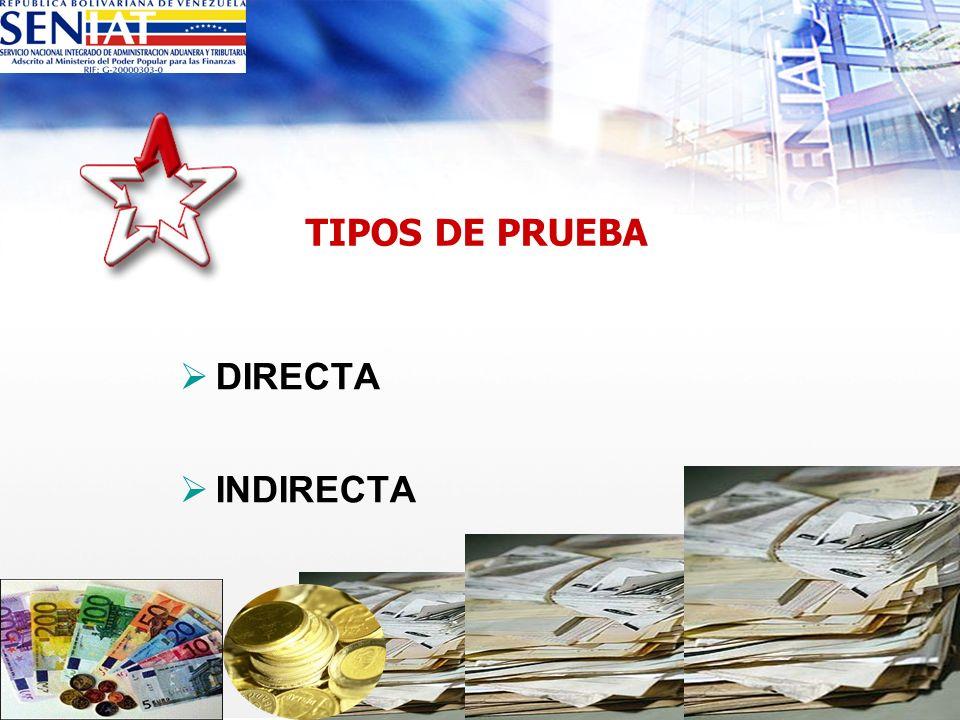 TIPOS DE PRUEBA DIRECTA INDIRECTA cont...