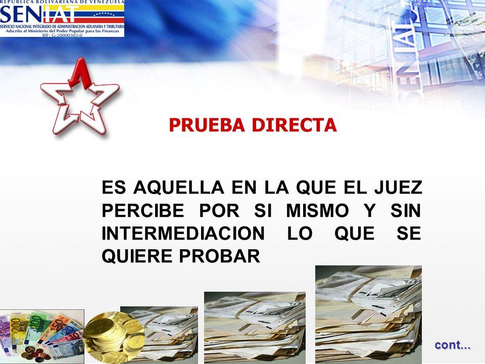 PRUEBA DIRECTA ES AQUELLA EN LA QUE EL JUEZ PERCIBE POR SI MISMO Y SIN INTERMEDIACION LO QUE SE QUIERE PROBAR cont... cont...