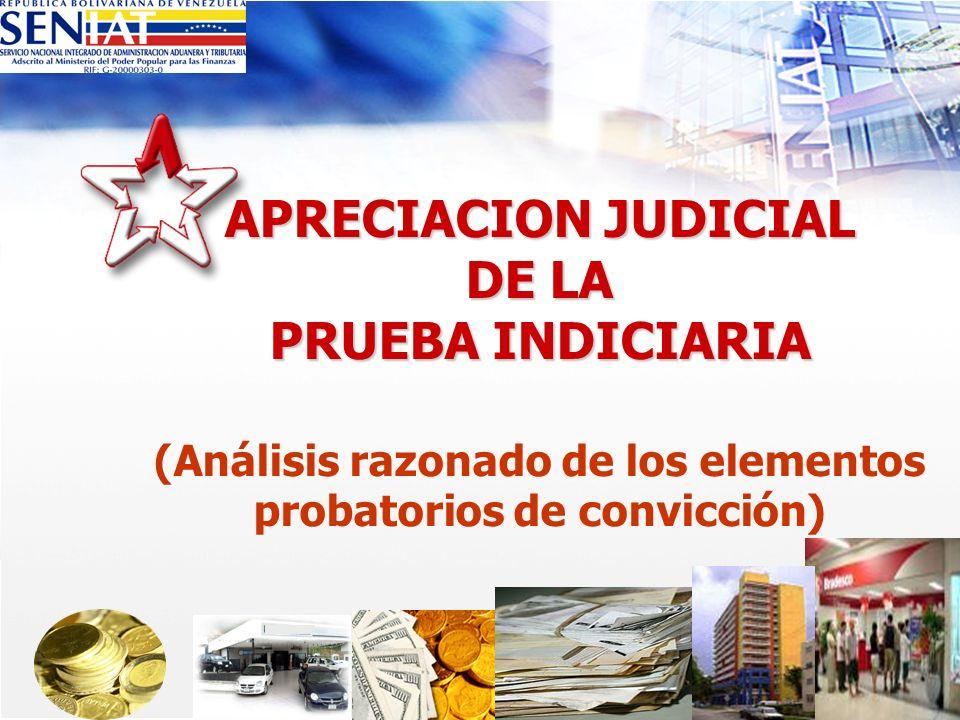 APRECIACION JUDICIAL DE LA PRUEBA INDICIARIA APRECIACION JUDICIAL DE LA PRUEBA INDICIARIA (Análisis razonado de los elementos probatorios de convicció