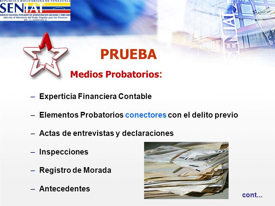 PRUEBA : Medios Probatorios : –Experticia Financiera Contable –Elementos Probatorios conectores con el delito previo –Actas de entrevistas y declaraci