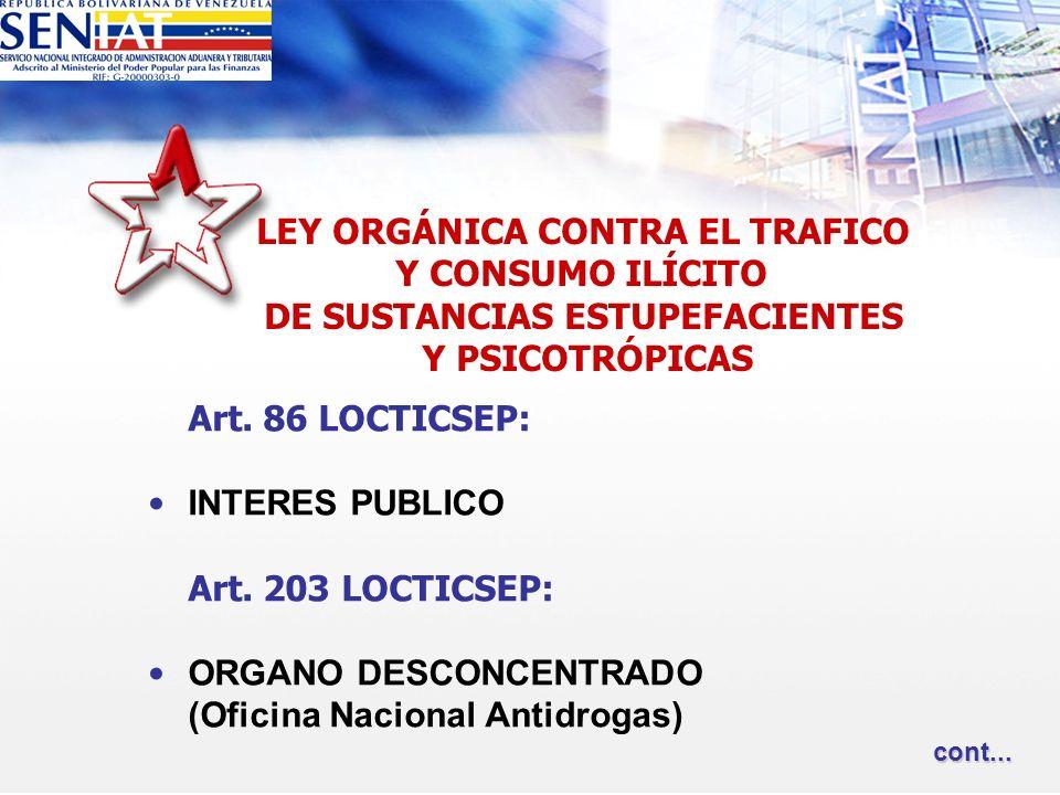 Art. 86 LOCTICSEP: INTERES PUBLICO Art. 203 LOCTICSEP: ORGANO DESCONCENTRADO (Oficina Nacional Antidrogas) LEY ORGÁNICA CONTRA EL TRAFICO Y CONSUMO IL