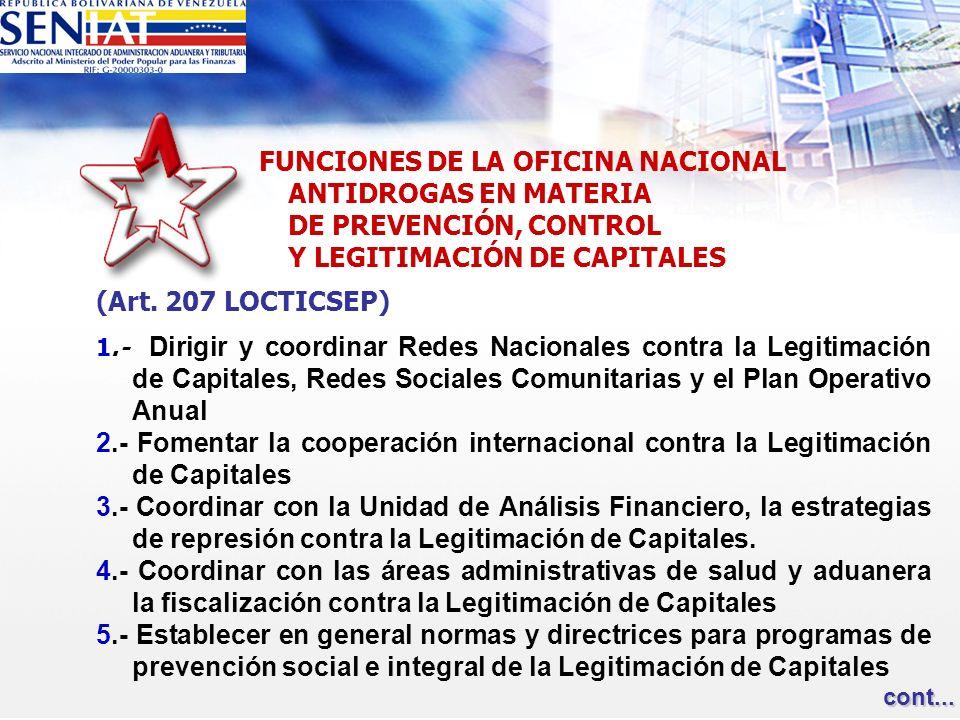 FUNCIONES DE LA OFICINA NACIONAL ANTIDROGAS EN MATERIA DE PREVENCIÓN, CONTROL Y LEGITIMACIÓN DE CAPITALES (Art. 207 LOCTICSEP) 1.- Dirigir y coordinar