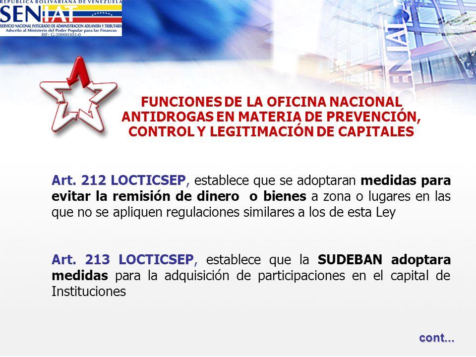 Art. 212 LOCTICSEP, establece que se adoptaran medidas para evitar la remisión de dinero o bienes a zona o lugares en las que no se apliquen regulacio
