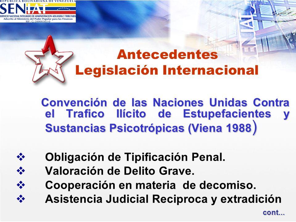 Antecedentes Legislación Internacional Convención de las Naciones Unidas Contra el Trafico Ilícito de Estupefacientes y Sustancias Psicotrópicas (Vien