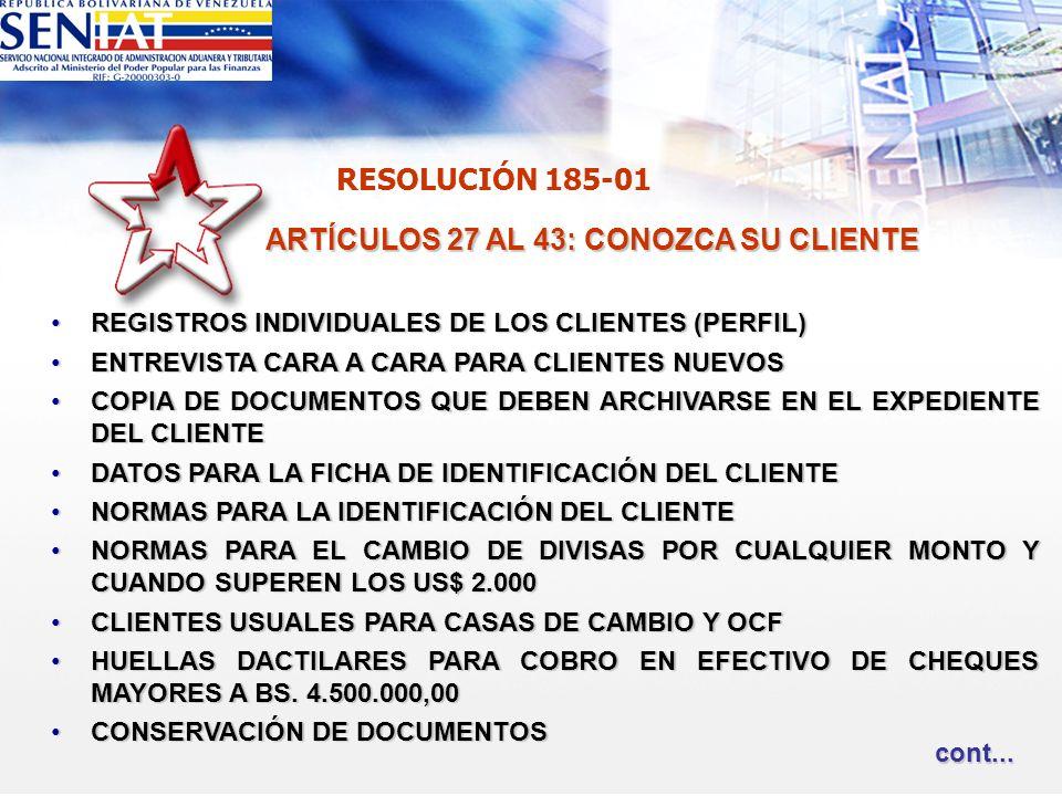 ARTÍCULOS 27 AL 43: CONOZCA SU CLIENTE REGISTROS INDIVIDUALES DE LOS CLIENTES (PERFIL)REGISTROS INDIVIDUALES DE LOS CLIENTES (PERFIL) ENTREVISTA CARA