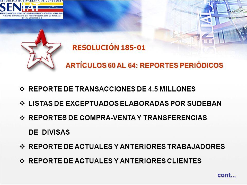 ARTÍCULOS 60 AL 64: REPORTES PERIÓDICOS REPORTE DE TRANSACCIONES DE 4.5 MILLONES LISTAS DE EXCEPTUADOS ELABORADAS POR SUDEBAN REPORTES DE COMPRA-VENTA