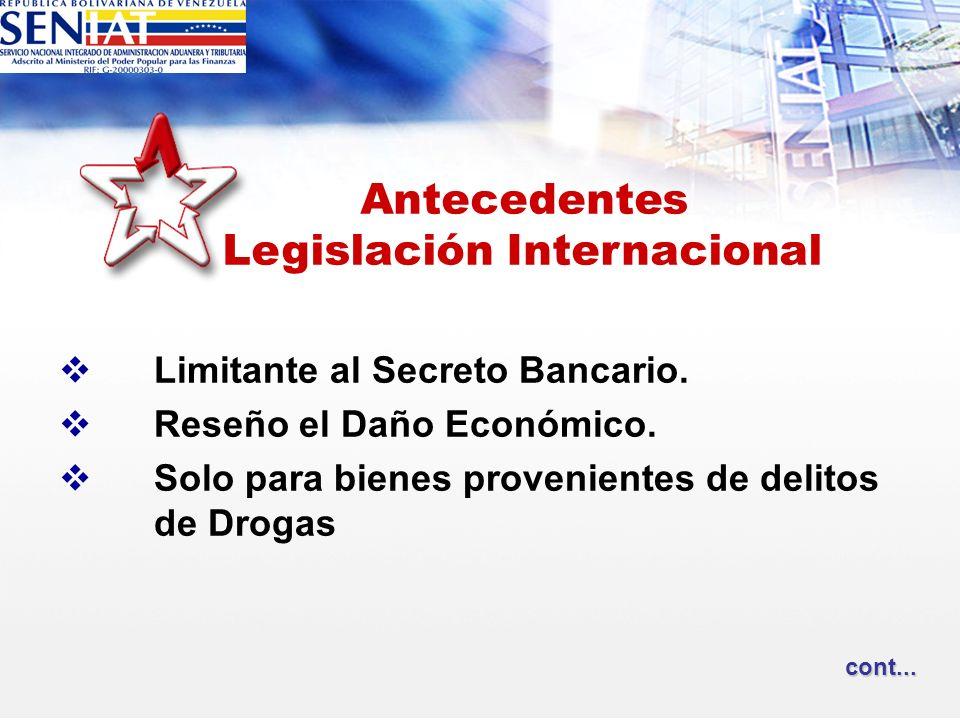 Limitante al Secreto Bancario. Reseño el Daño Económico. Solo para bienes provenientes de delitos de Drogas Antecedentes Legislación Internacional con