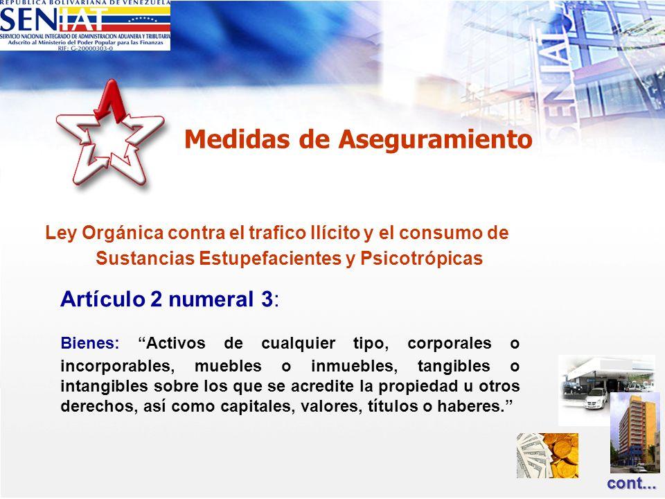 Ley Orgánica contra el trafico Ilícito y el consumo de Sustancias Estupefacientes y Psicotrópicas Artículo 2 numeral 3: Bienes: Activos de cualquier t