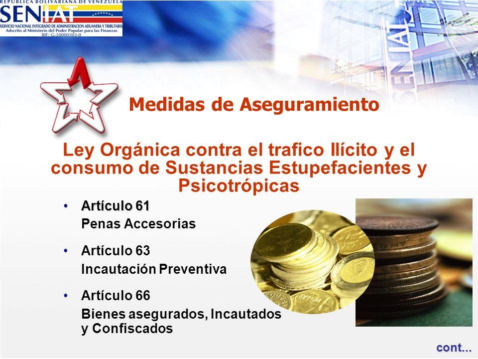 Medidas de Aseguramiento Artículo 61Artículo 61 Penas Accesorias Artículo 63 Incautación Preventiva Artículo 66 Bienes asegurados, Incautados y Confis