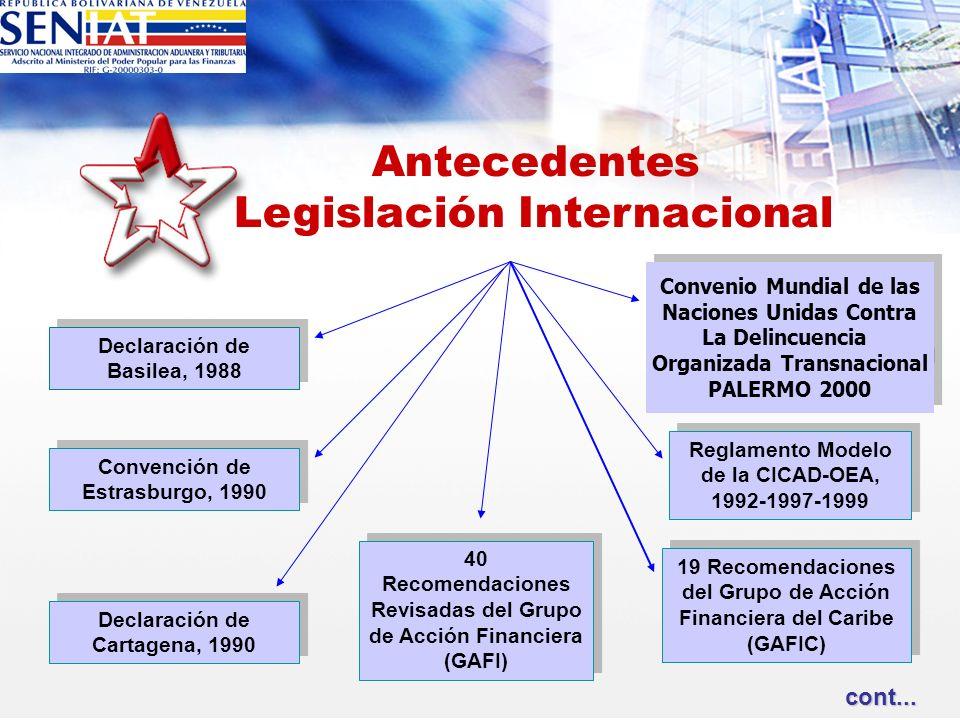 Declaración de Basilea, 1988 Convención de Estrasburgo, 1990 Declaración de Cartagena, 1990 40 Recomendaciones Revisadas del Grupo de Acción Financier
