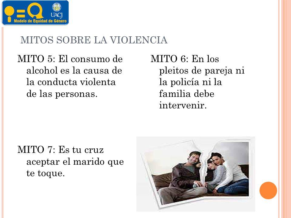 MITOS SOBRE LA VIOLENCIA MITO 5: El consumo de alcohol es la causa de la conducta violenta de las personas.
