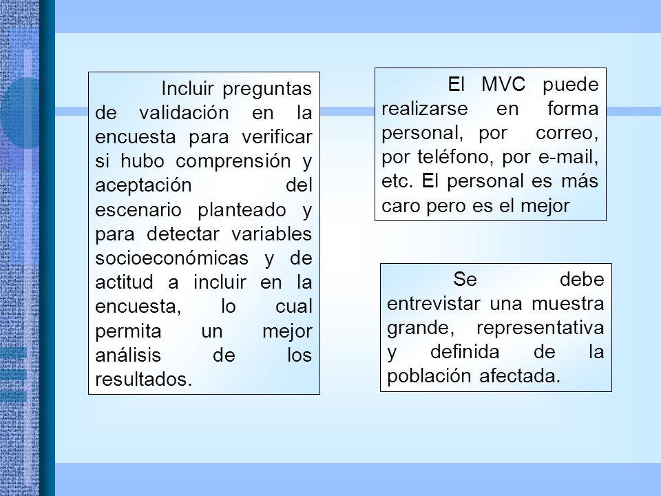 El MVC puede realizarse en forma personal, por correo, por teléfono, por e-mail, etc.