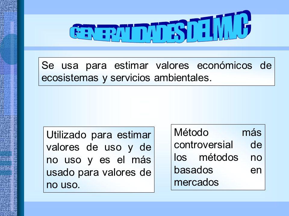 Se usa para estimar valores económicos de ecosistemas y servicios ambientales.