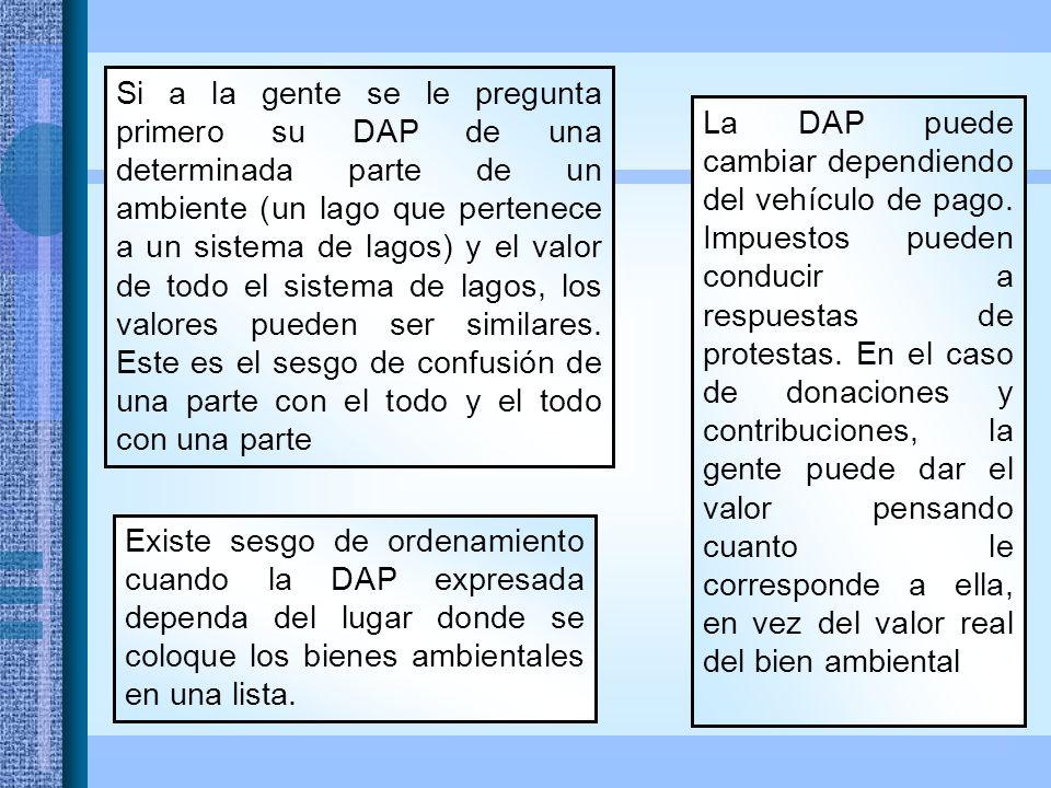 Si a la gente se le pregunta primero su DAP de una determinada parte de un ambiente (un lago que pertenece a un sistema de lagos) y el valor de todo el sistema de lagos, los valores pueden ser similares.