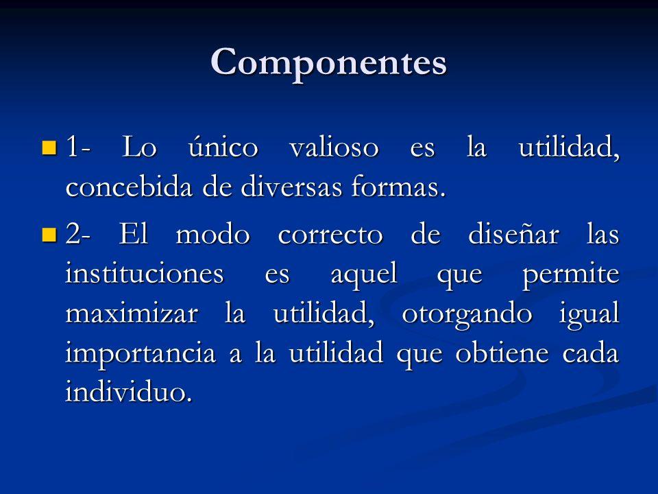 Componentes 1- Lo único valioso es la utilidad, concebida de diversas formas. 1- Lo único valioso es la utilidad, concebida de diversas formas. 2- El