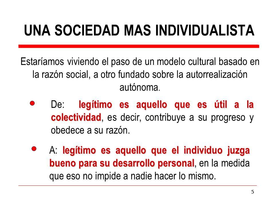 5 Estaríamos viviendo el paso de un modelo cultural basado en la razón social, a otro fundado sobre la autorrealización autónoma.