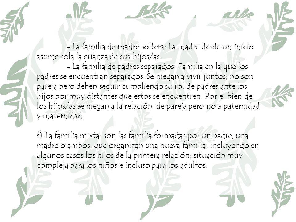 - La familia de madre soltera: La madre desde un inicio asume sola la crianza de sus hijos/as.