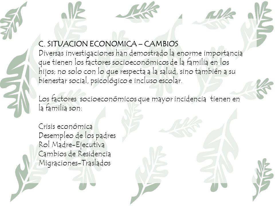 C. SITUACION ECONOMICA – CAMBIOS Diversas investigaciones han demostrado la enorme importancia que tienen los factores socioeconómicos de la familia e