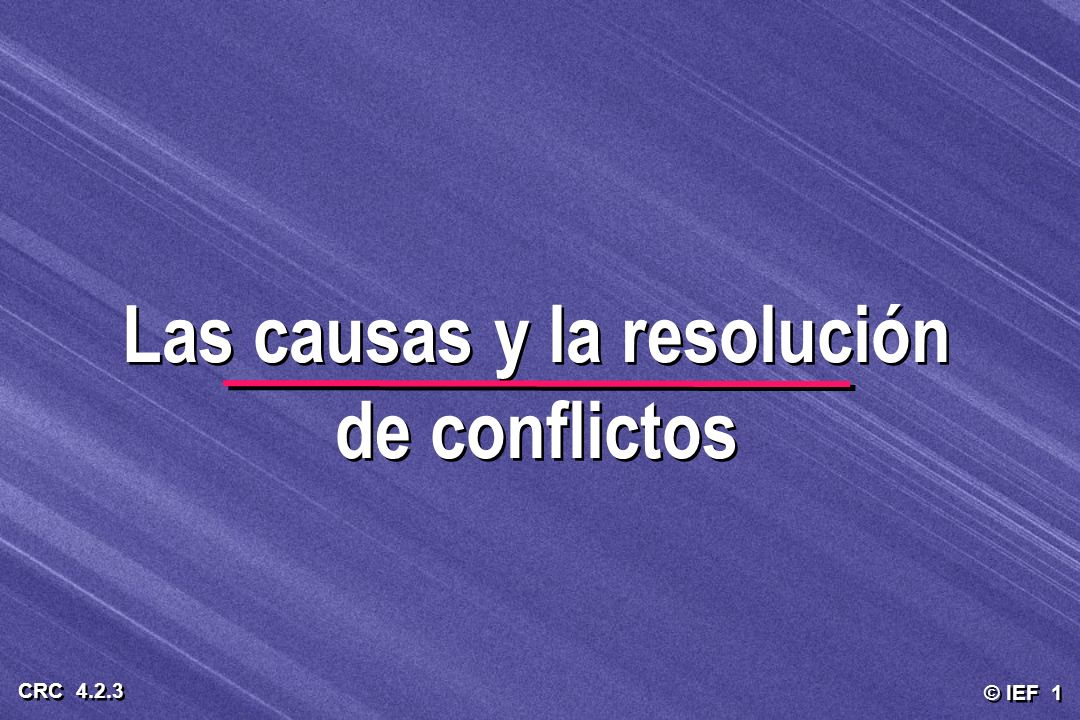 © IEF 1 CRC 4.2.3 Las causas y la resolución de conflictos