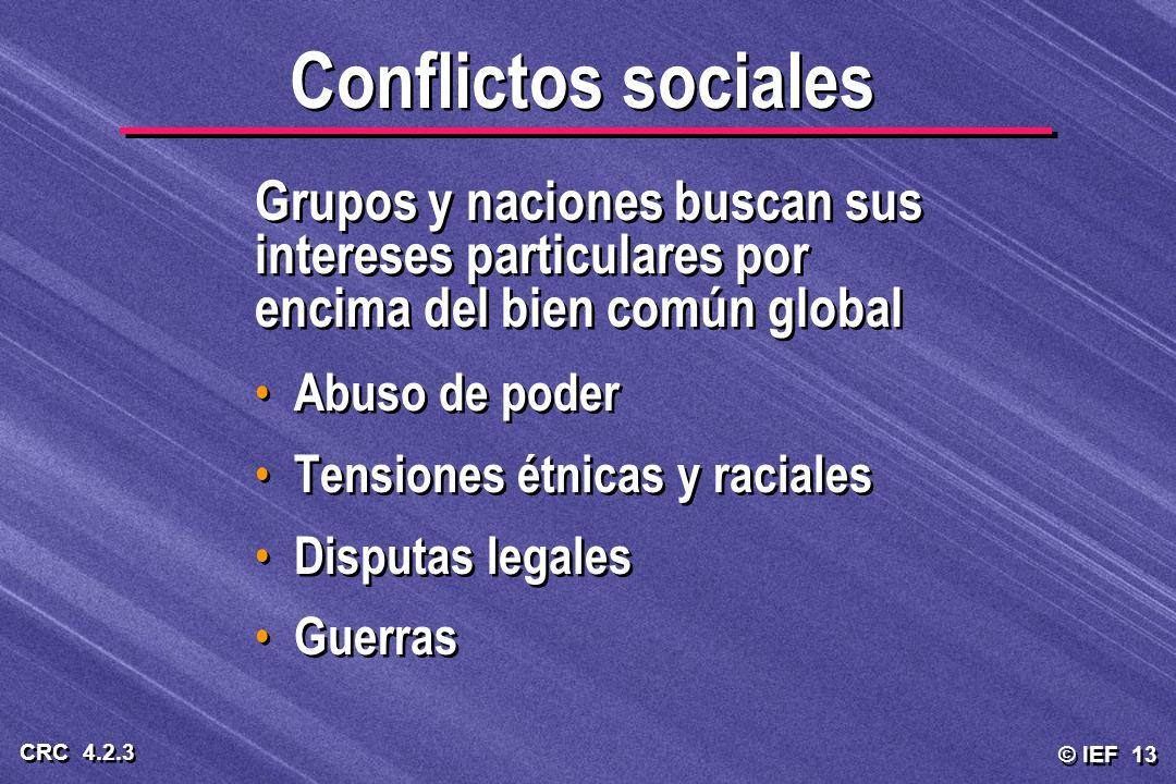 © IEF 13 CRC 4.2.3 Conflictos sociales Grupos y naciones buscan sus intereses particulares por encima del bien común global Abuso de poder Tensiones é
