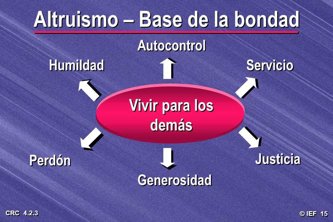 © IEF 15 CRC 4.2.3 Altruismo – Base de la bondad Vivir para los demás Autocontrol Servicio Justicia Generosidad Perdón Humildad