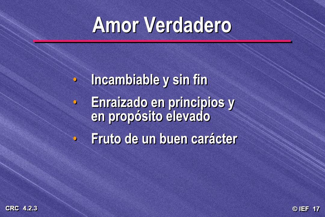 © IEF 17 CRC 4.2.3 Incambiable y sin fin Enraizado en principios y en propósito elevado Fruto de un buen carácter Incambiable y sin fin Enraizado en p