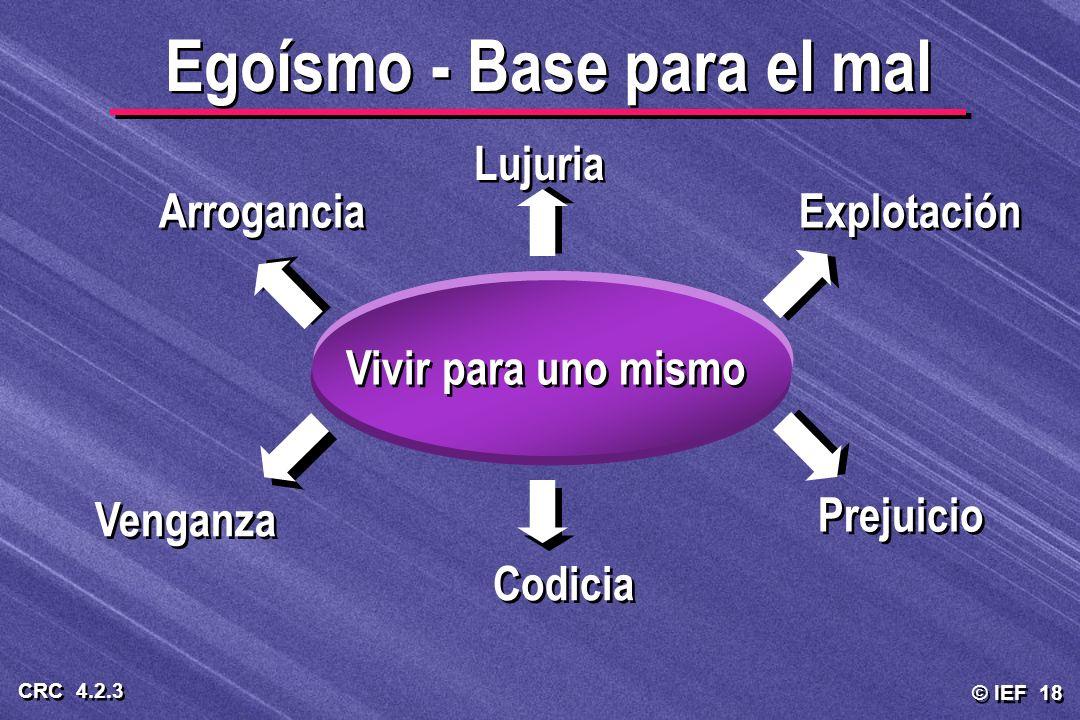 © IEF 18 CRC 4.2.3 Egoísmo - Base para el mal Vivir para uno mismo Lujuria Explotación Prejuicio Codicia Venganza Arrogancia