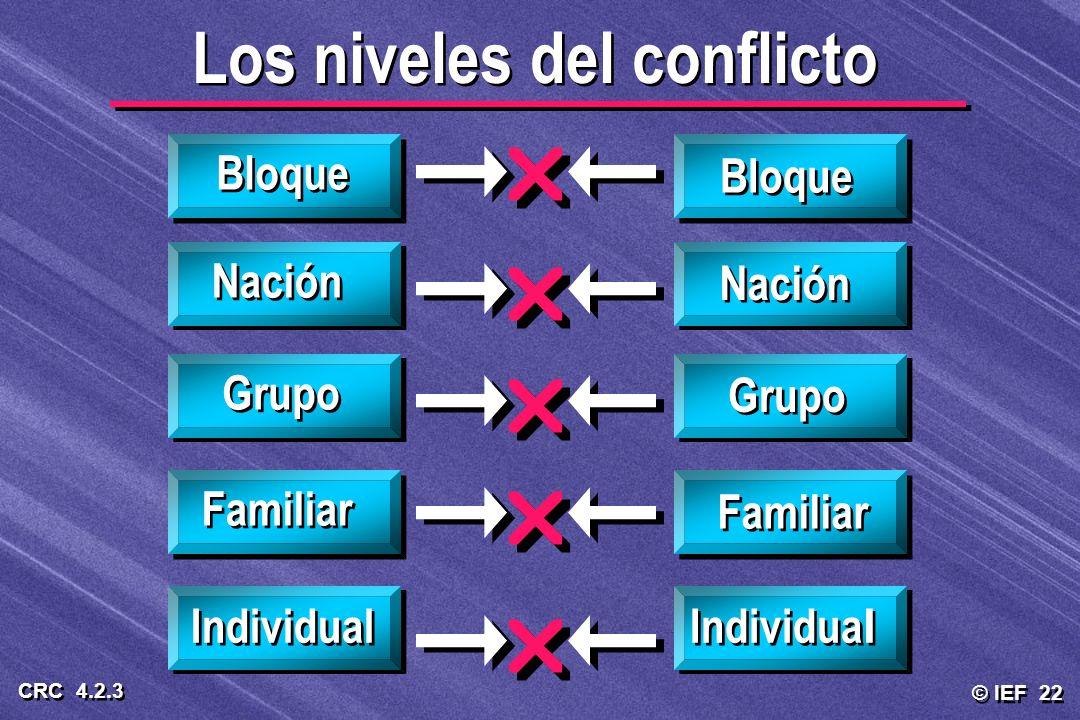 © IEF 22 CRC 4.2.3 Los niveles del conflicto Bloque Nación Grupo Familiar Individual Familiar Grupo Nación Bloque