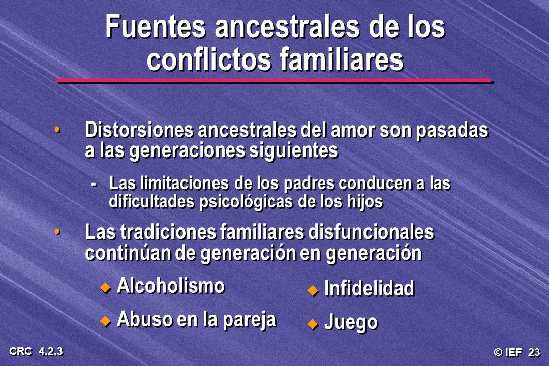 © IEF 23 CRC 4.2.3 Distorsiones ancestrales del amor son pasadas a las generaciones siguientes - Las limitaciones de los padres conducen a las dificul