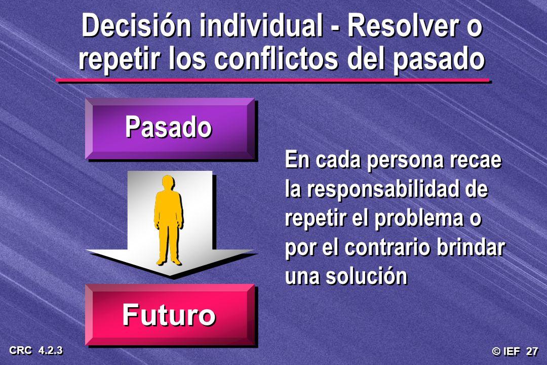 © IEF 27 CRC 4.2.3 Decisión individual - Resolver o repetir los conflictos del pasado Pasado Futuro En cada persona recae la responsabilidad de repeti