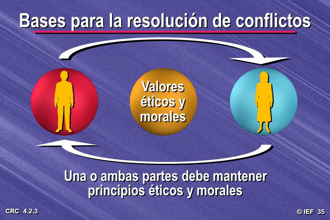 © IEF 35 CRC 4.2.3 Una o ambas partes debe mantener principios éticos y morales Bases para la resolución de conflictos Valores éticos y morales