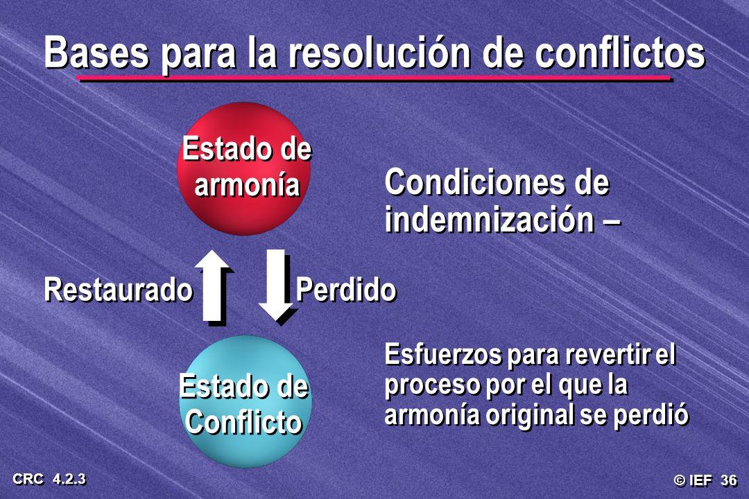 © IEF 36 CRC 4.2.3 Condiciones de indemnización – Esfuerzos para revertir el proceso por el que la armonía original se perdió Condiciones de indemniza