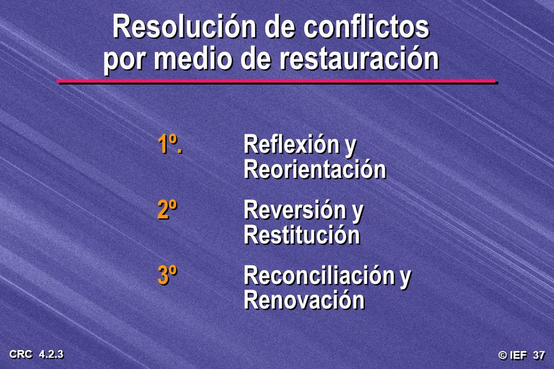 © IEF 37 CRC 4.2.3 Resolución de conflictos por medio de restauración 1º.Reflexión y Reorientación 2ºReversión y Restitución 3ºReconciliación y Renova