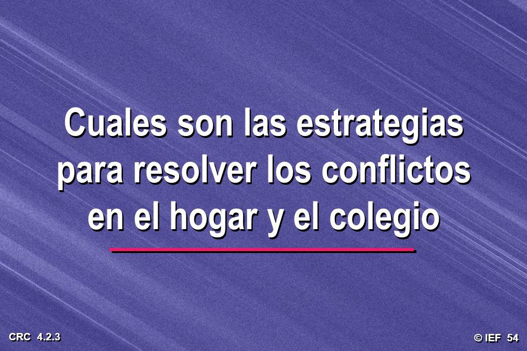 © IEF 54 CRC 4.2.3 Cuales son las estrategias para resolver los conflictos en el hogar y el colegio