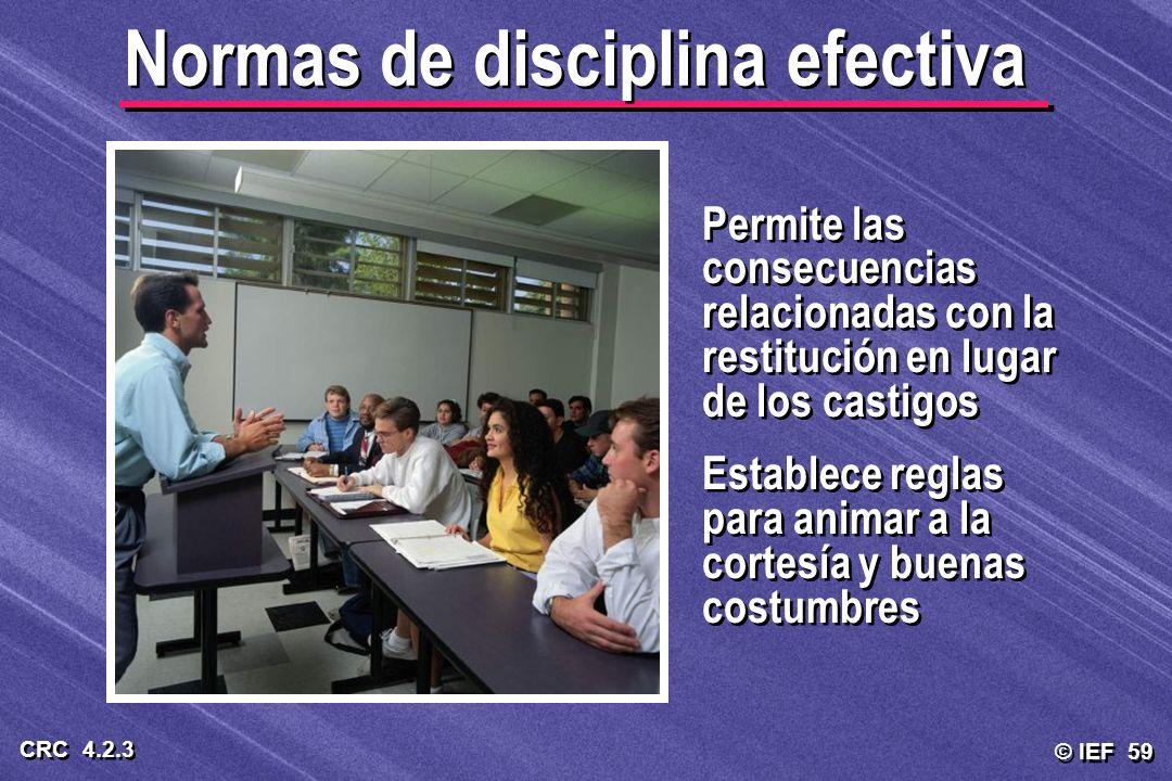 © IEF 59 CRC 4.2.3 Permite las consecuencias relacionadas con la restitución en lugar de los castigos Establece reglas para animar a la cortesía y bue