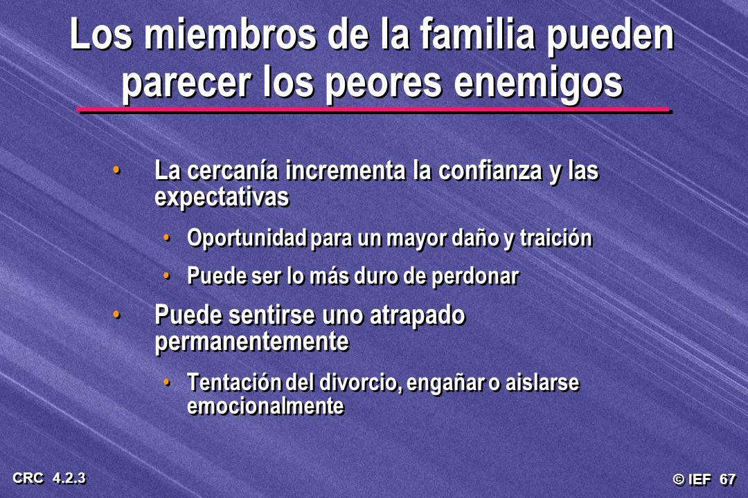 © IEF 67 CRC 4.2.3 Los miembros de la familia pueden parecer los peores enemigos La cercanía incrementa la confianza y las expectativas Oportunidad pa
