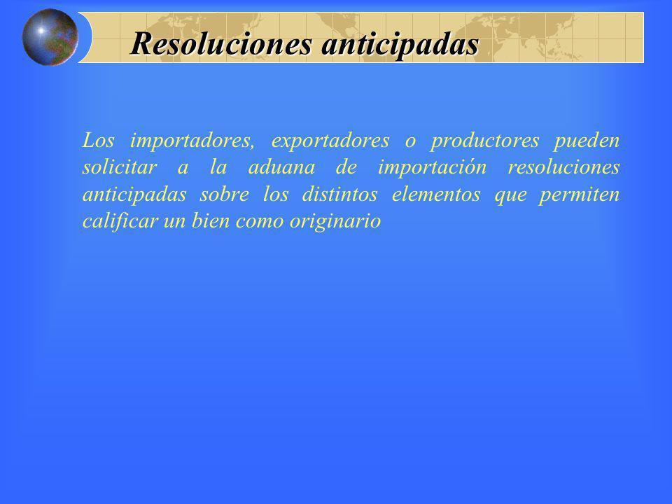 Resoluciones anticipadas Los importadores, exportadores o productores pueden solicitar a la aduana de importación resoluciones anticipadas sobre los d