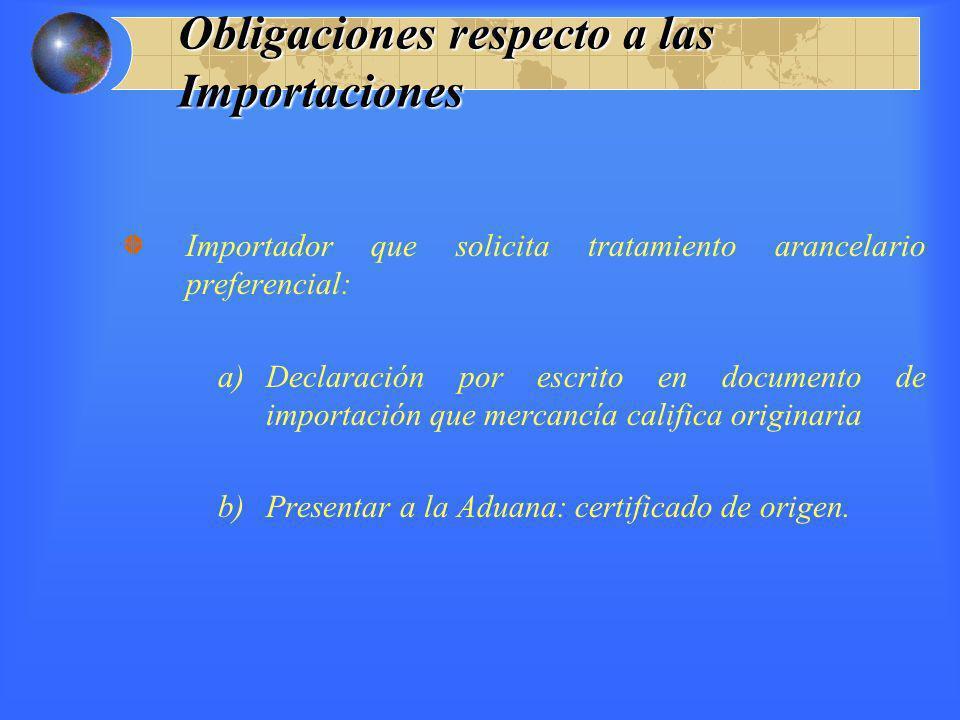 Obligaciones respecto a las Importaciones Importador que solicita tratamiento arancelario preferencial: a)Declaración por escrito en documento de impo