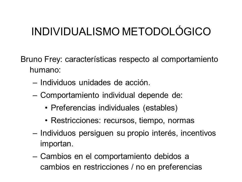 INDIVIDUALISMO METODOLÓGICO Bruno Frey: características respecto al comportamiento humano: –Individuos unidades de acción. –Comportamiento individual